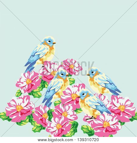 Vector illustration blooming tree and pigeons in watercolor technique. Beautiful Spring Time flower and birds composition design for backgrounds cards etc