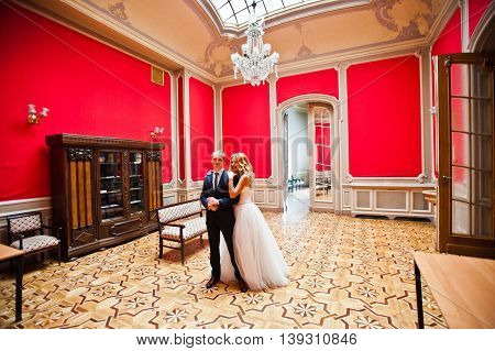 Elegant Wedding Couple At Old Vintage House And Palace At Red Room