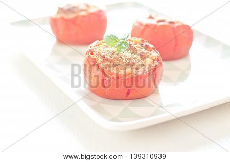 delicious tomatoes stuffed with ground beef and bread crumbsitaly