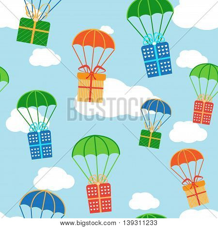 Cartoon colorful parachutes with gift boxes. Vector seamless texture can be used for wallpaper, pattern fills, web page, background, surface.