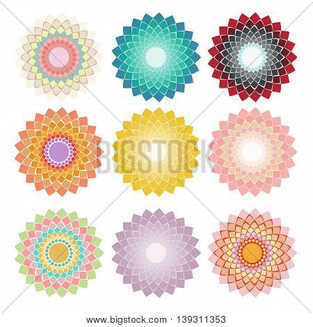 Set circular geometric elements for design. Vector illustration.