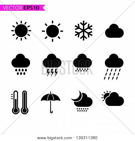 Weather icons set 1 on black color background