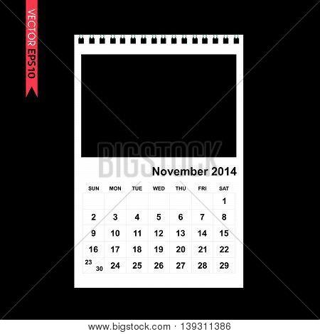 November 2014 calendar vector on black color background