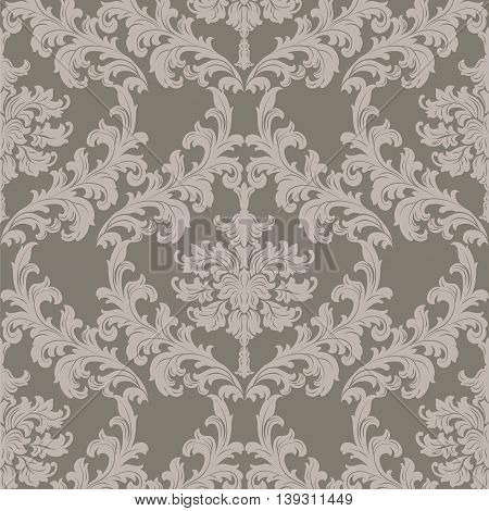 Vector Baroque Vintage floral damask pattern element background. Luxury Classic stylized lily flower Damask ornament royal Victorian texture for textile fabric. taupe color ornament