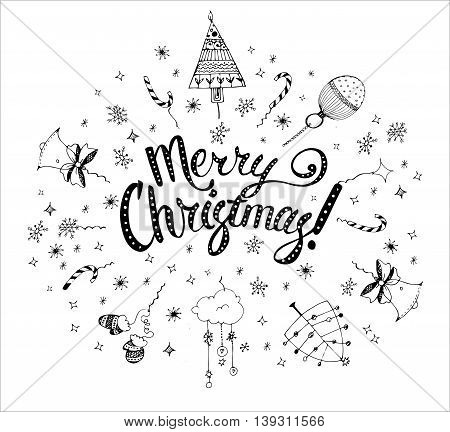 Christmas postcard template with doodles. Hand drawn text. Vector illustration.
