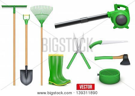 Set of Necessary Garden tools items for the season. Taking care of a garden or a farm in a season. Vector Illustration isolated on white background.