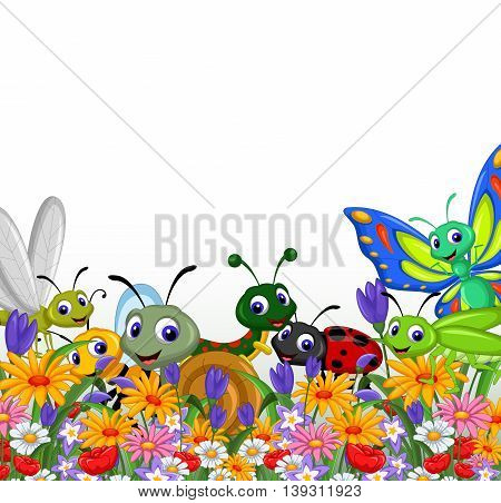 collection of insects in the flower garden