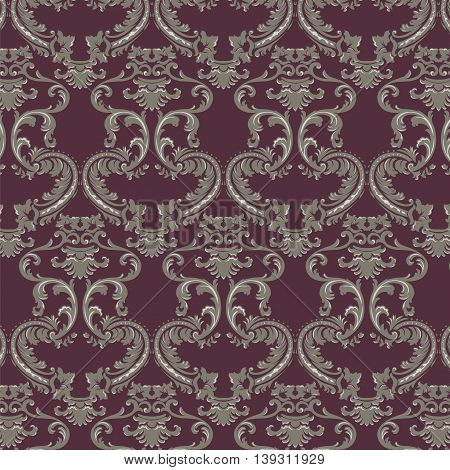 Vector Baroque Vintage floral damask pattern element background. Luxury Classic lily floral stylized Damask ornament royal Victorian texture for textile fabric. Red ornament