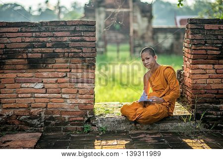 Little Novice Reading And Studying With Cat In Old Temple At Sunset Time, Ayutthaya Province, Thaila