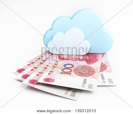 Chinese yuan banknotes under cloud. 3d illustration.