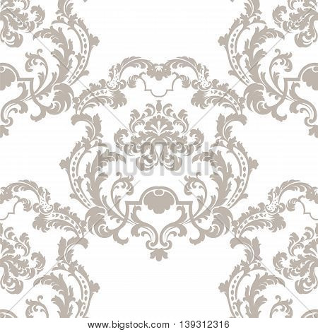 Vector Baroque Vintage floral damask pattern element background. Luxury Classic lily floral stylized Damask ornament royal Victorian texture for textile fabric. beige color ornament