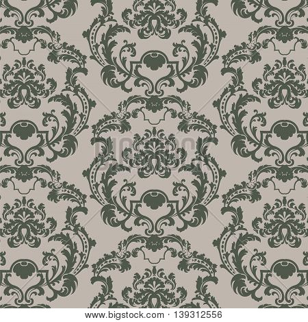 Vector Baroque Vintage floral damask pattern element background. Luxury Classic stylized lily flower Damask ornament royal Victorian texture for textile fabric. green color ornament