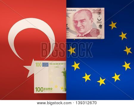 Money transfer between Turkey and European Union. 3d illustration.