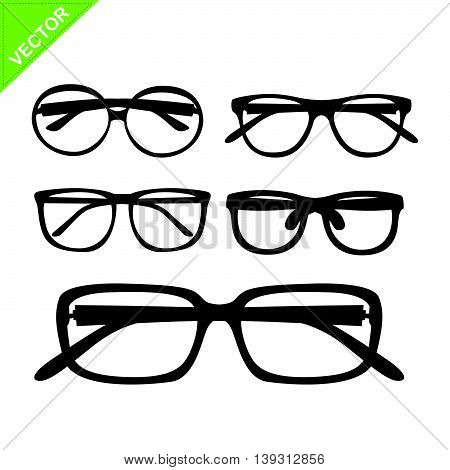 glasses silhouettes vector on white color background