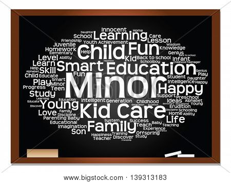 Vector concept or conceptual child education or family abstract word cloud, blackboard and chalk background