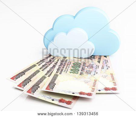 Cloud computing concept, Indian rupee. 3d illustration.