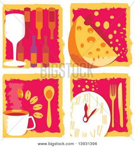 Wijn, kaas, koffie en diner pictogrammen