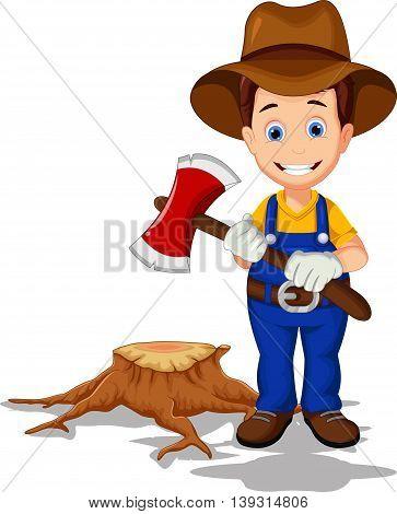 funny lumberjack cartoon posing for you design