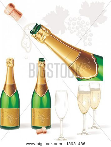 Detailed vector. Champagne bottle, glasses, cork