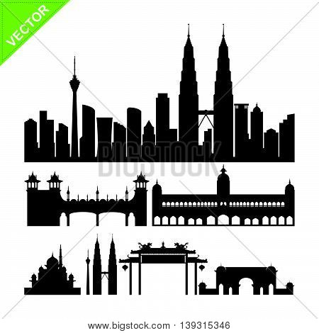 Kuala lumpur, Malaysia landmark silhouettes vector on white color background