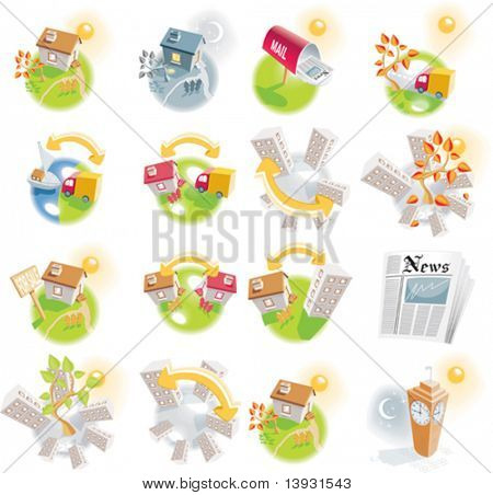 12 real estate detailed vector icons