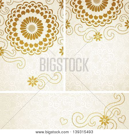 Vintage invitation cards with large flowers and curls. Template frame design for greeting and wedding card. You can place your text in the empty place.