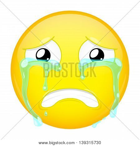 Sad crying emoji. Bad emotion. Weeping emoticon. Vector illustration crying icon.