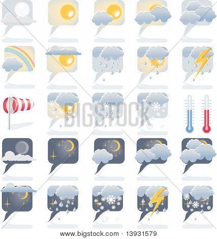 Día y noche los iconos de Previsión del tiempo