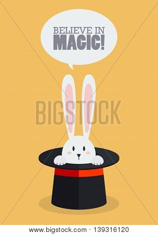 Magic top hat with rabbit. Vector Illustration