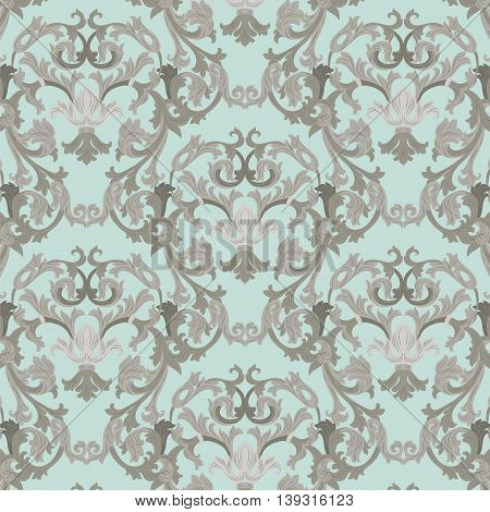 Vector damask pattern ornament. Exquisite Baroque element template. Classical luxury fashioned damask ornament Royal Victorian texture for textile wrapping