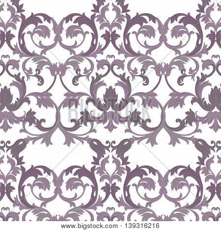 Vector damask pattern ornament. Exquisite Baroque element template. Classical luxury fashioned damask ornament Royal Victorian texture for textile wrapping. lavender color