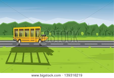 Yellow School Bus Driving Along Country Road. Back to School Concept with Yellow Bus, Green Tree and Blue Sky.