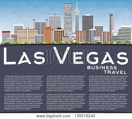 Las Vegas Skyline with Gray Buildings, Blue Sky and Copy Space. Business Travel and Tourism Concept with Modern Buildings. Image for Presentation Banner Placard and Web.