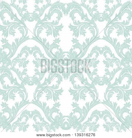 Vintage Baroque floral Damask pattern Vector. Luxury classic ornament. Royal Victorian texture for textile fabric. Opal blue color