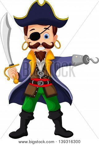 funny Cartoon pirate posing for you design