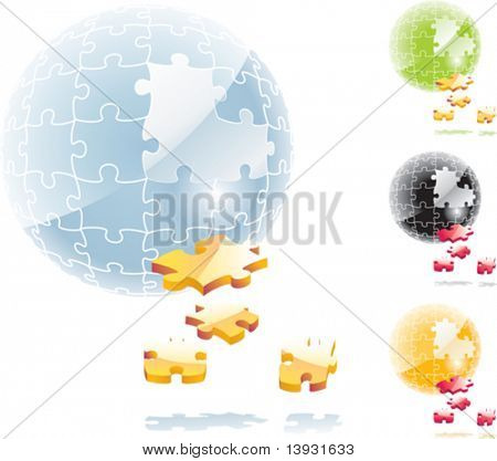 Vector jigsaw puzzle sphere