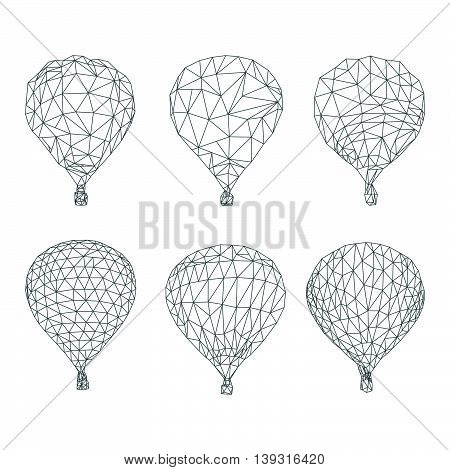 Hot air balloon polygon vector on white color background