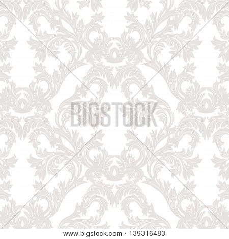 Vintage Baroque floral Damask pattern Vector. Luxury classic ornament. Royal Victorian texture for textile fabric. Taupe color