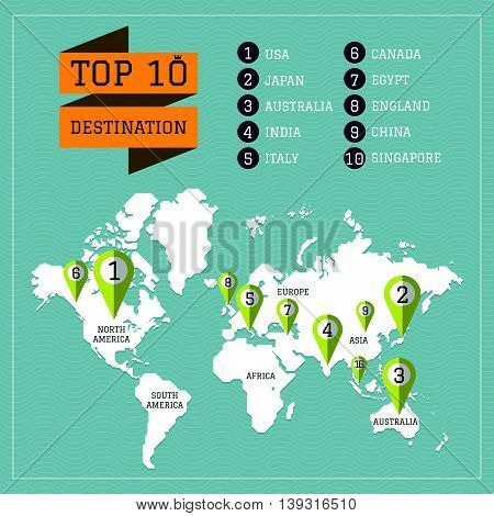 World map travel destination with pin vector
