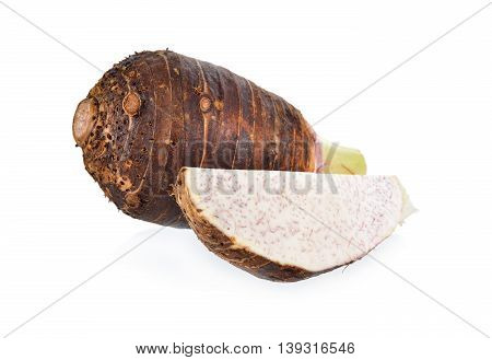 whole and portion cut taro on white background
