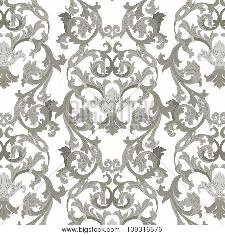 Vector damask pattern ornament. Exquisite Baroque element template. Classical luxury fashioned damask ornament Royal Victorian texture for textile wrapping. Gray ornament