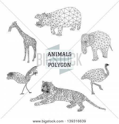 Animal polygon vector set 2 on white color background