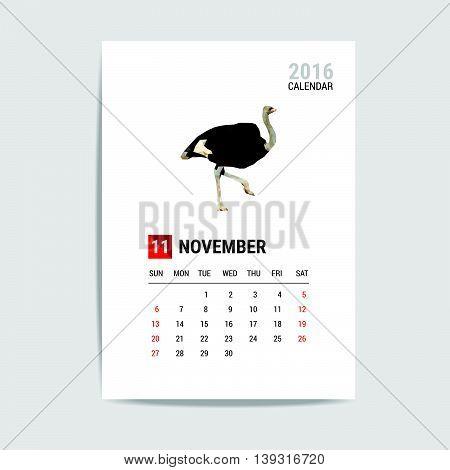 2016 November calendar, Ostrich polygon vector on white color background