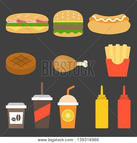vector junk food icon, flat design on black background