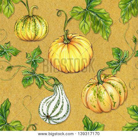 seamless pumpkin design for halloween. watercolor pattern on textured background.