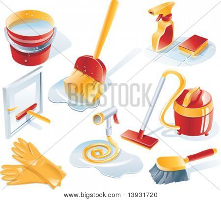 Vector cleaning icon set