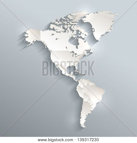 America political map 3D raster individual states separate