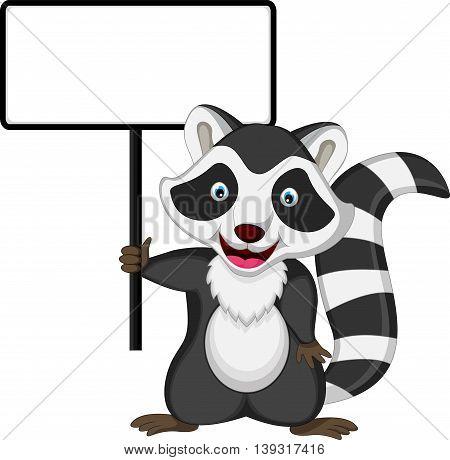 funny raccoon cartoon posing with blank sign