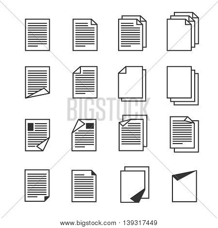 Paper document, page vector icons set. File document and paper page document for business