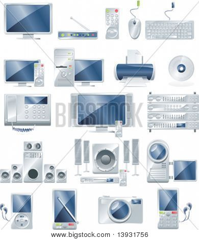 Elektronische apparatuur vector icon set
